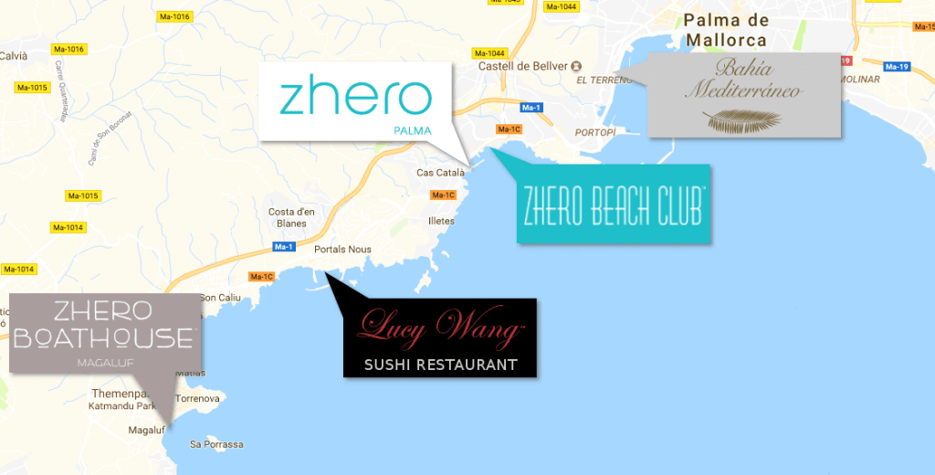 Zhero Event Locations on Majorca