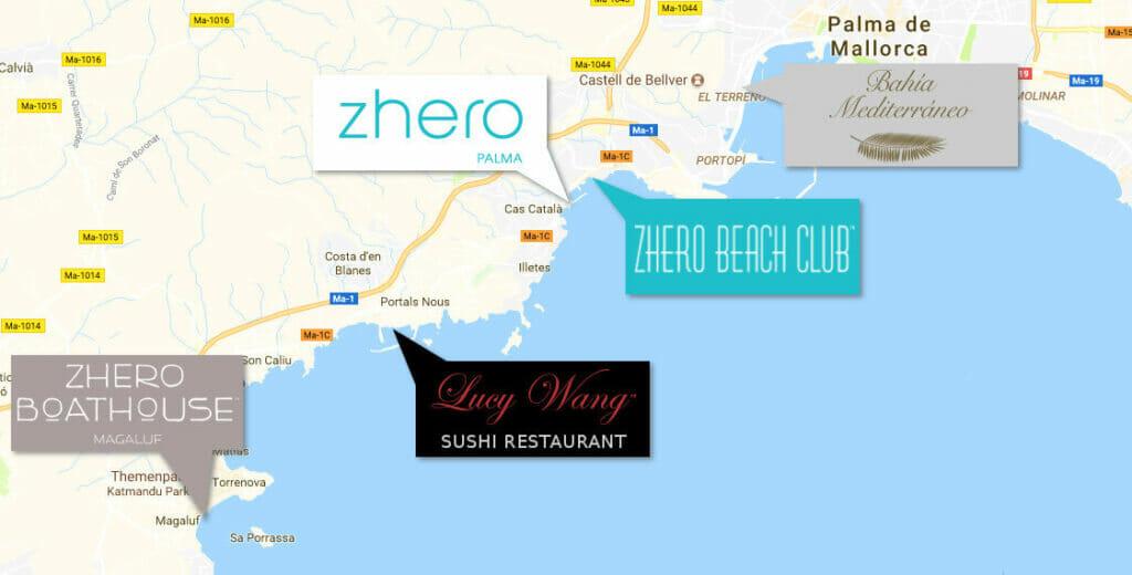 Zhero Event Locations on Majorca